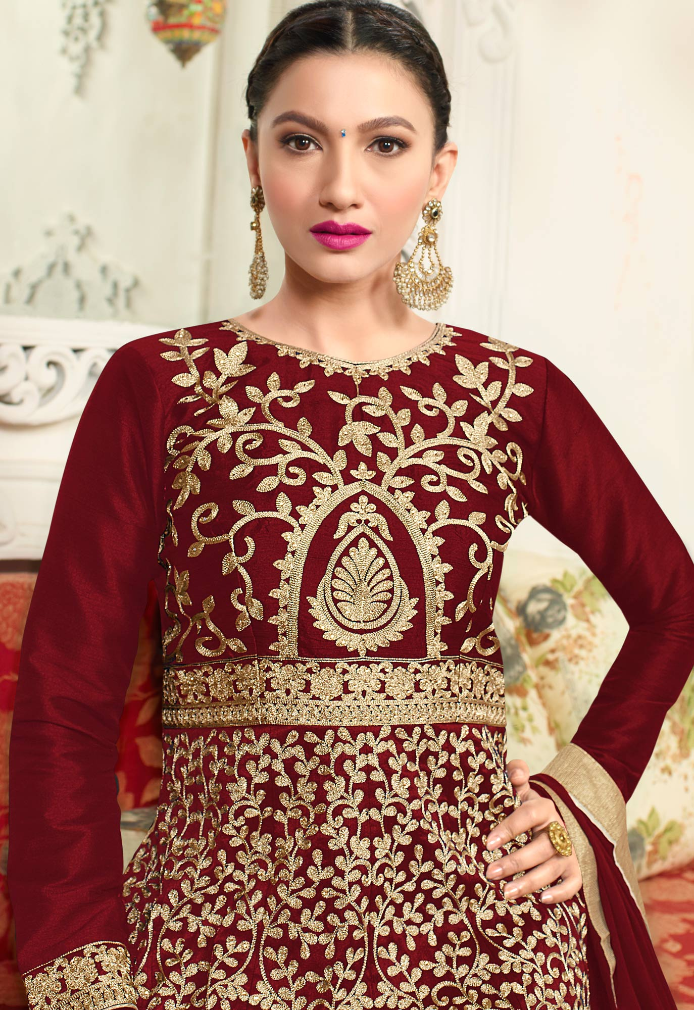 Lovely Maroon Designer Embroidered Partywear Mulberry Silk Abaya Style Anarkali Suit
