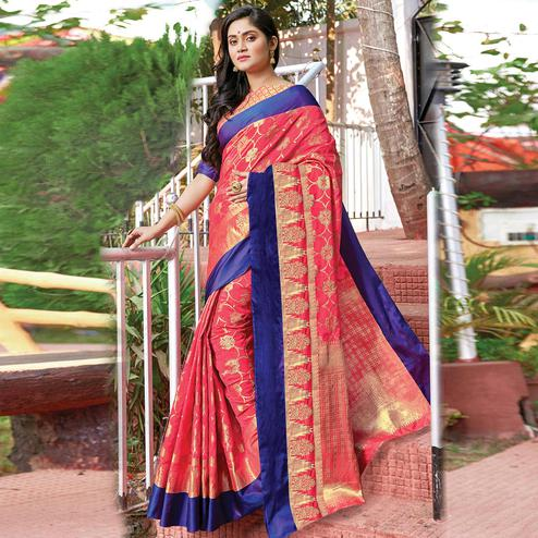 Ethnic Pink Colored Festive Wear Woven Silk Saree