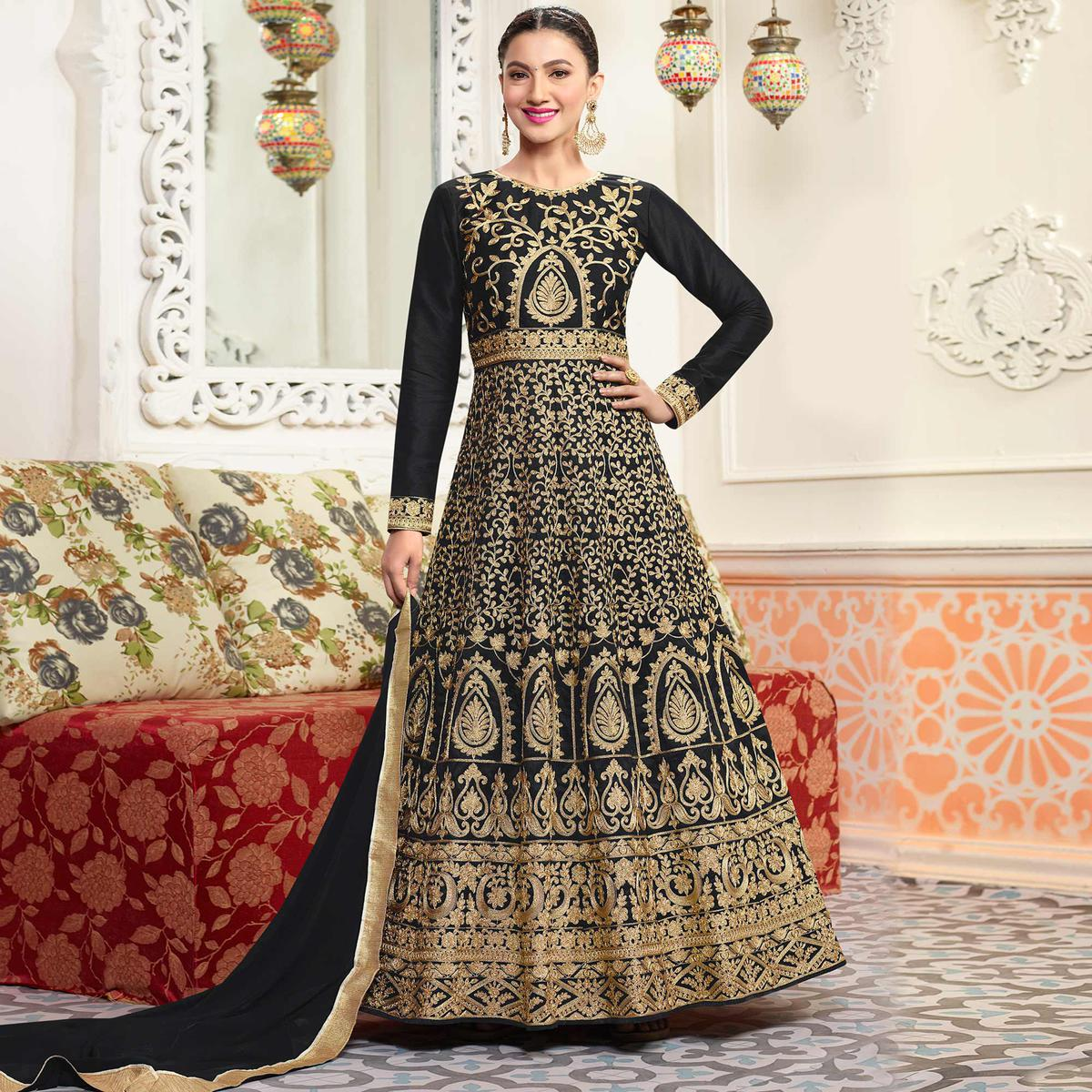 c6c4a1d9ff Buy Sizzling Black Designer Embroidered Partywear Mulberry Silk Anarkali  Suit for womens online India, Best Prices, Reviews - Peachmode