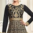 Sizzling Black Designer Embroidered Partywear Mulberry Silk Abaya Style Anarkali Suit