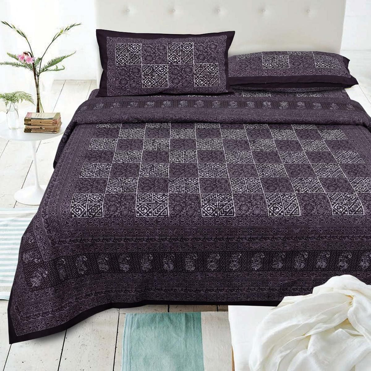 PINK CITY FABRICS - Unique Design Brown Color Pure Cotton King Size Bedsheet With 2 Pillow Cover
