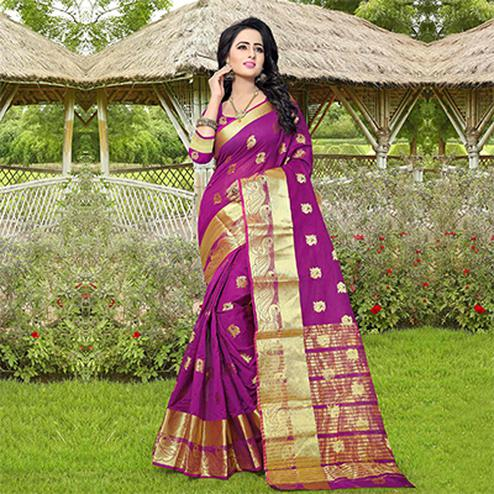 Purple Designer Festive Wear Woven Silk Saree