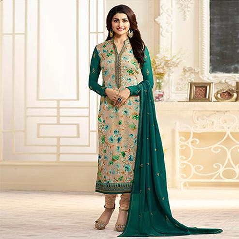 Graceful Green-Beige Designer Partywear Embroidered Georgette Brasso Straight Suit