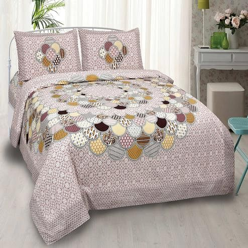 PINK CITY FABRICS - Unique Design Pink Color Pure Cotton King Size Bedsheet With 2 Pillow Cover