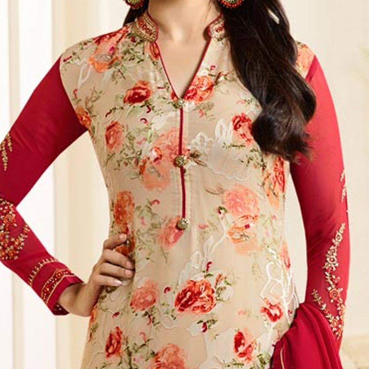 Ravishing Red-Beige Designer Partywear Embroidered Georgette Brasso Straight Suit