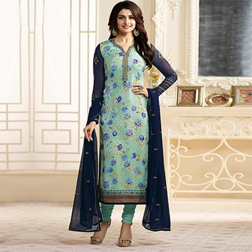 Dazzling Blue Designer Partywear Embroidered Georgette Brasso Straight Suit