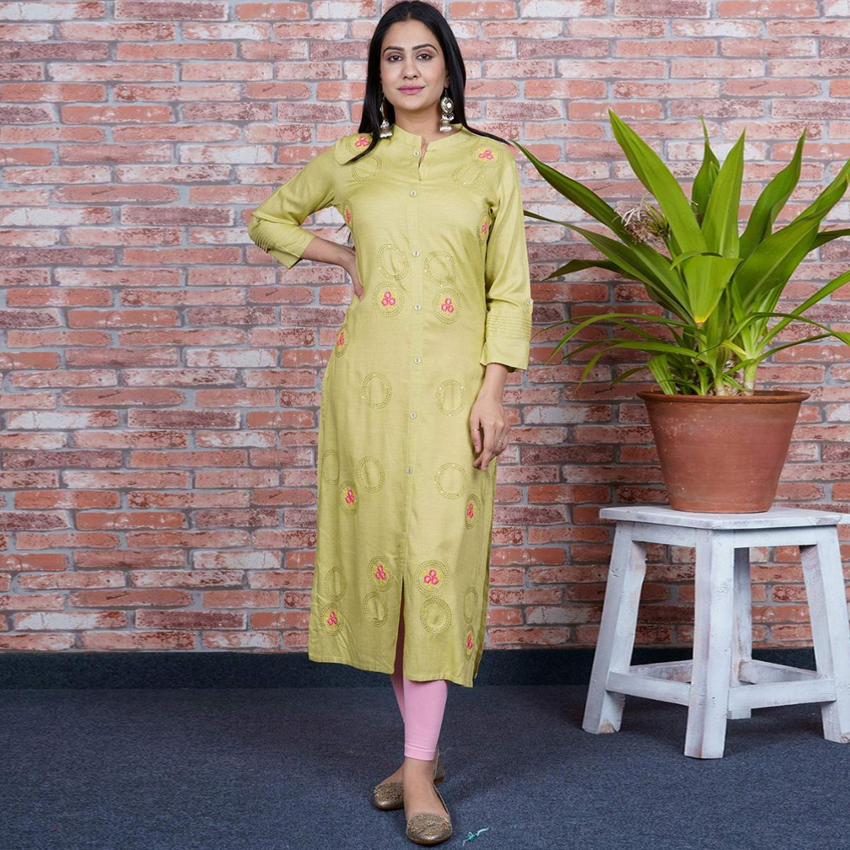 Aariya Designs - Light Olive Green Colored Casual Wear Embroidered Cotton Kurti