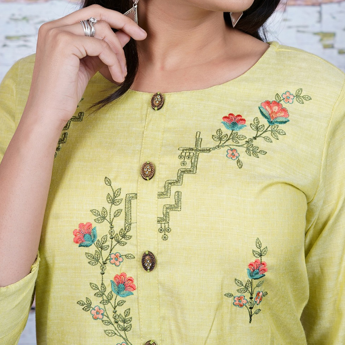 Aariya Designs - Light Green Colored Casual Wear Floral Embroidered Cotton Kurti