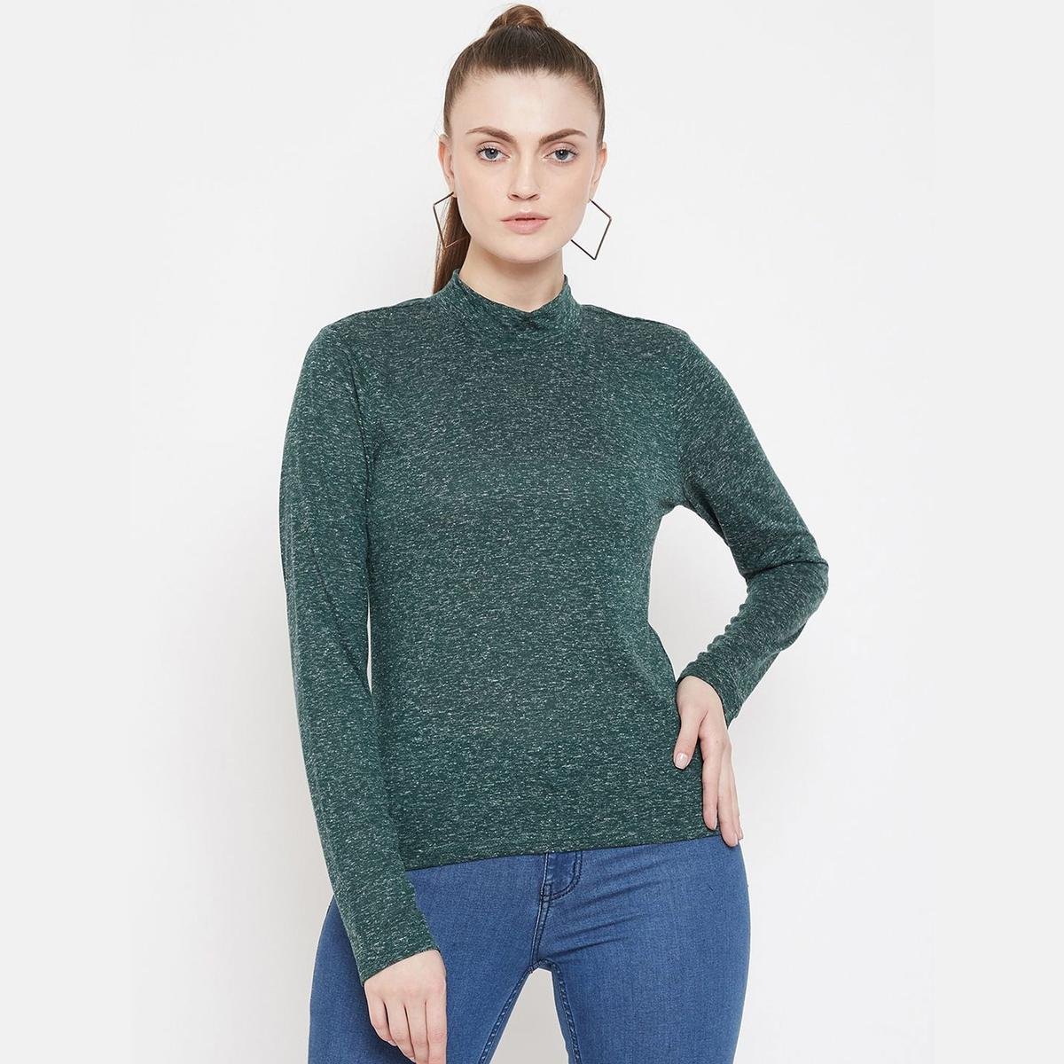 Weave & Knits - Green Colored Casual Wear Solid Cotton Top