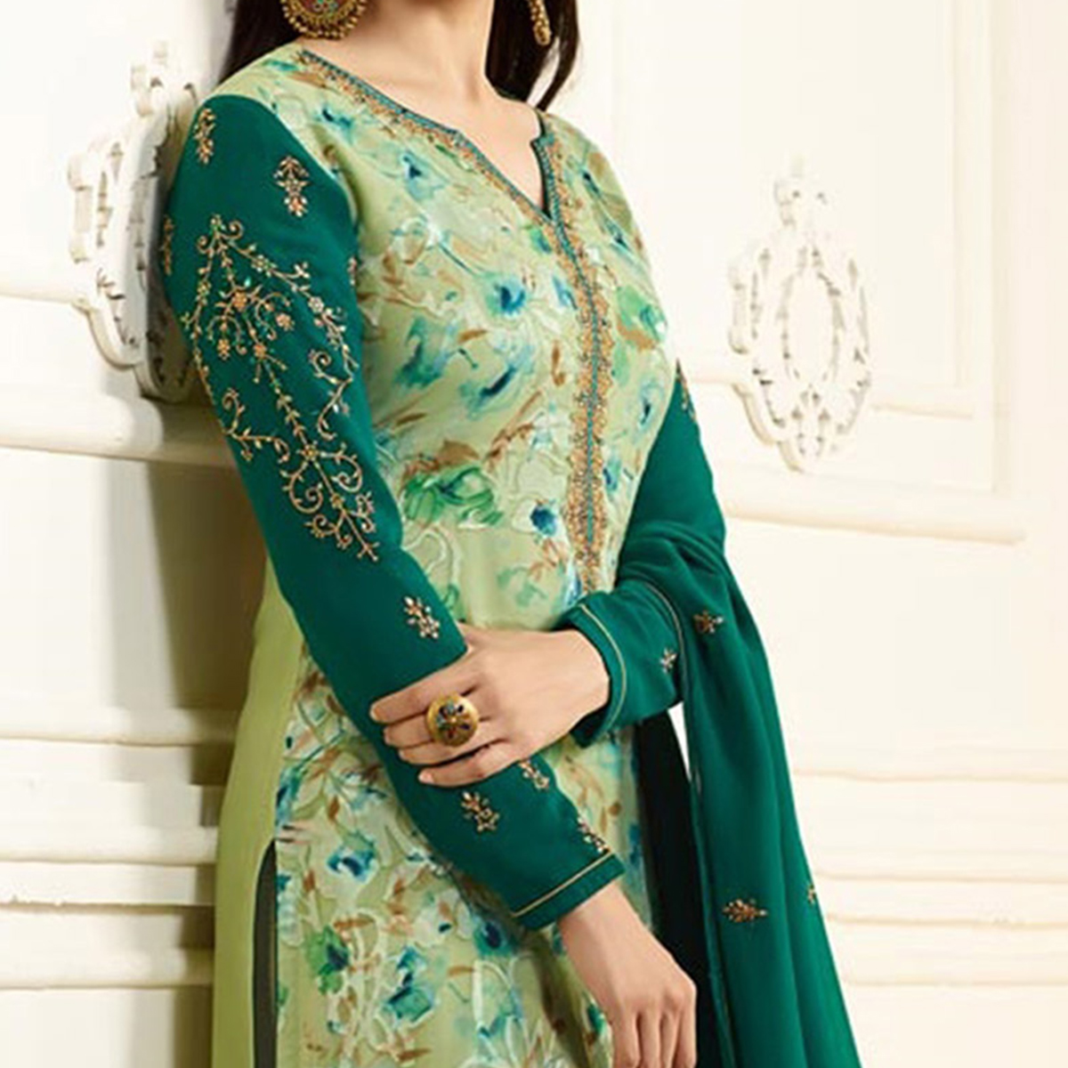 Gorgeous Green Designer Partywear Embroidered Georgette Brasso Straight Suit