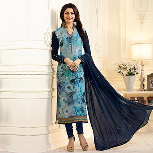 Charming Navy Blue Designer Partywear Embroidered Georgette Brasso Straight Suit