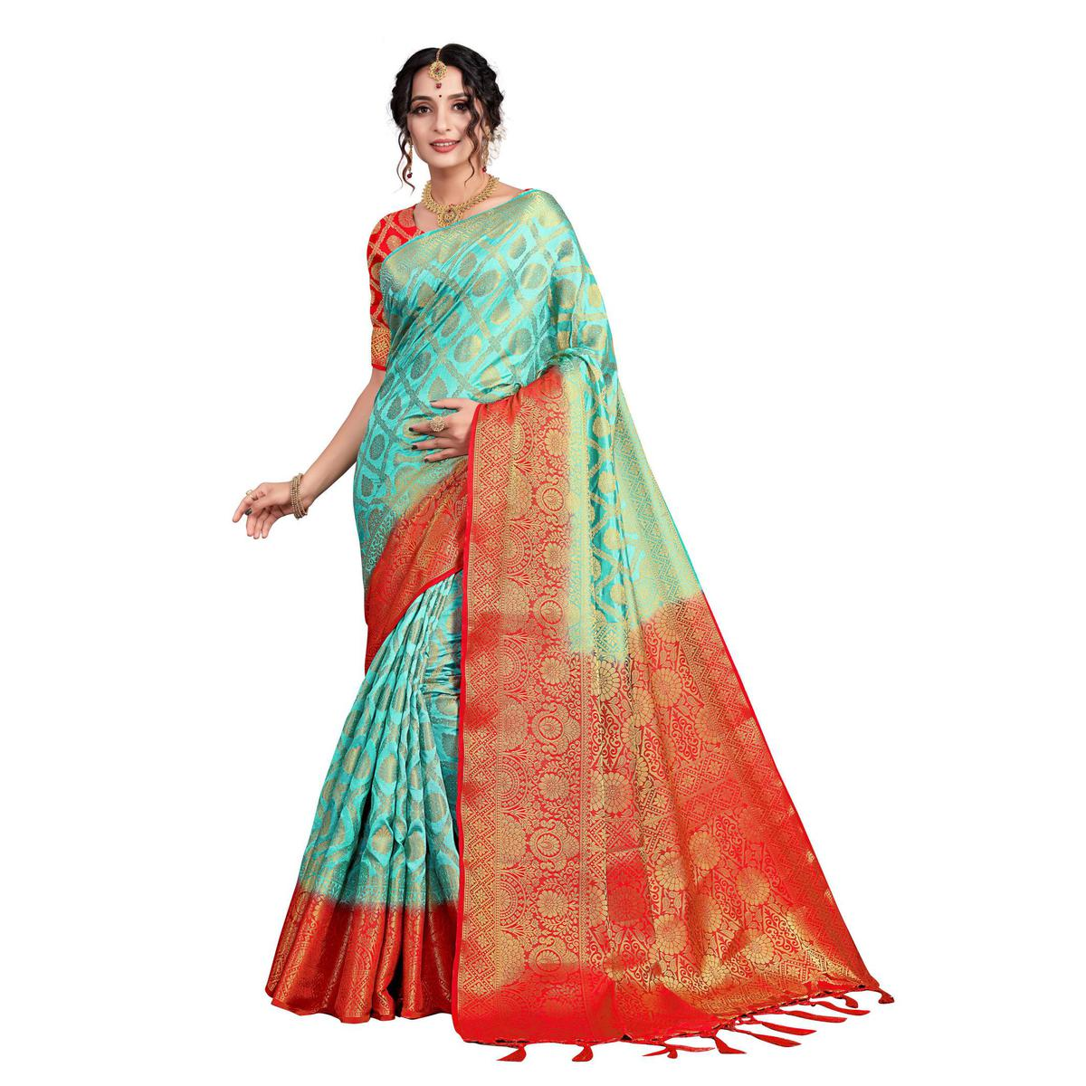SLE - Turquoise Jacquard Woven Design Saree With Blouse
