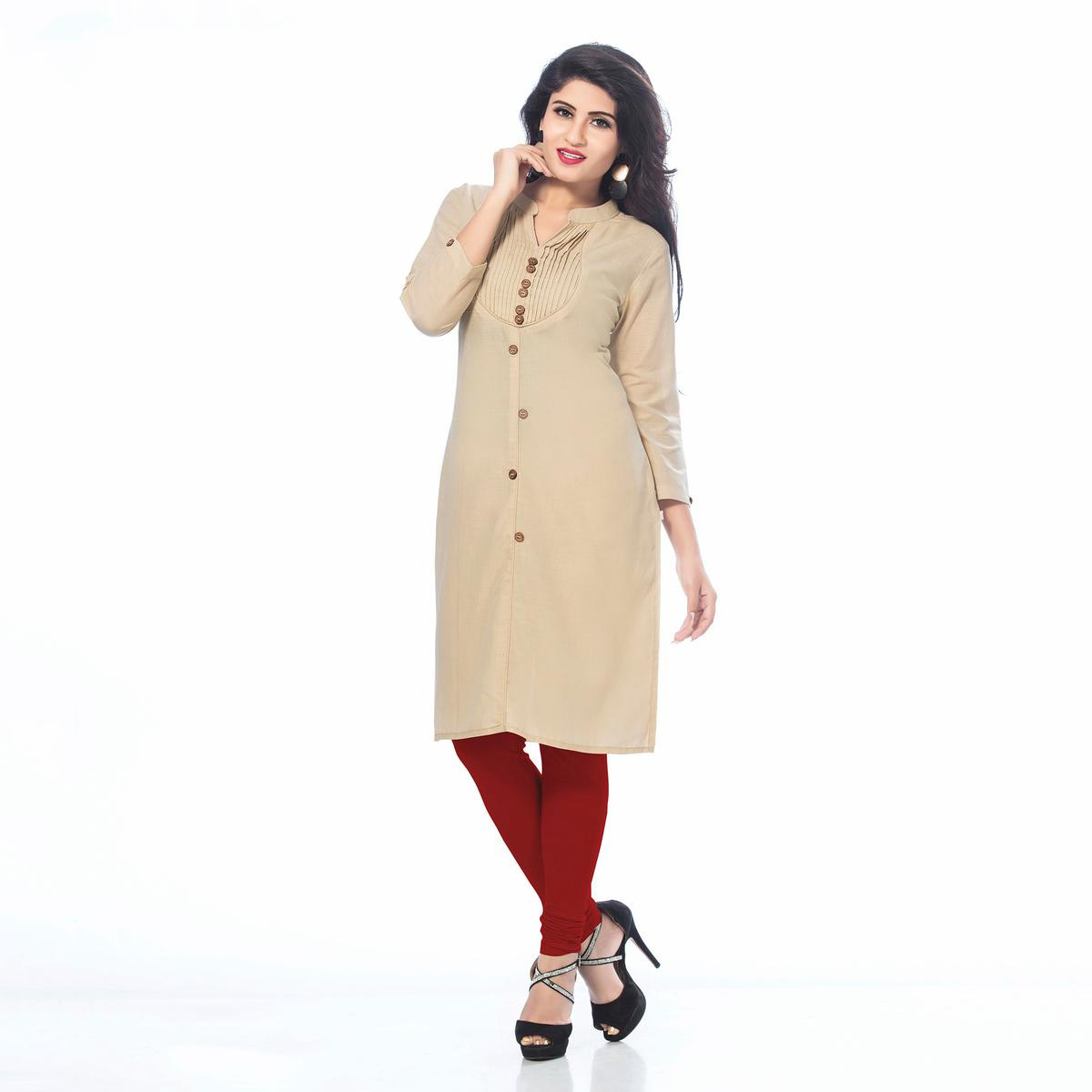 Trendy Beige Casual Wear Cotton Kurti