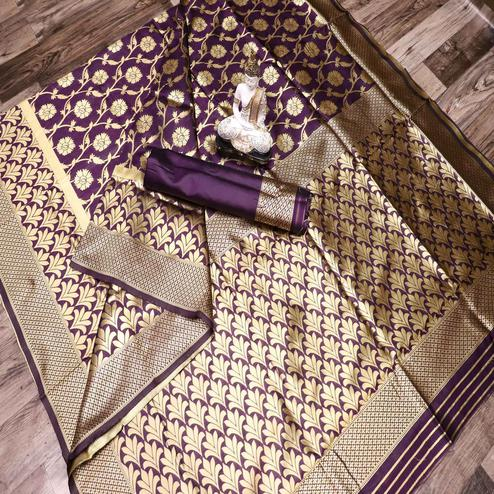 Radiant Purple Colored Festive Wear Woven Banarasi Silk Saree