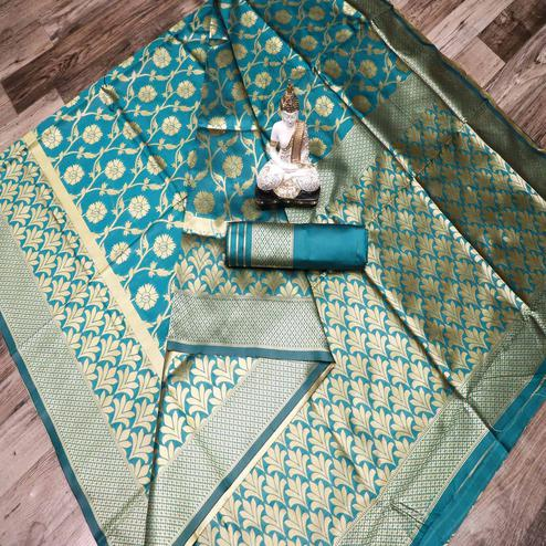 Pleasant Rama Blue Colored Festive Wear Woven Banarasi Silk Saree