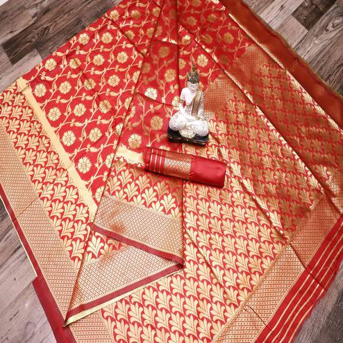 Opulent Red Colored Festive Wear Woven Banarasi Silk Saree