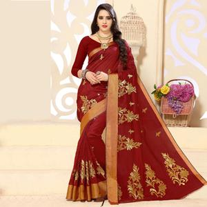 Maroon Embroidered Work Tussar Silk Saree