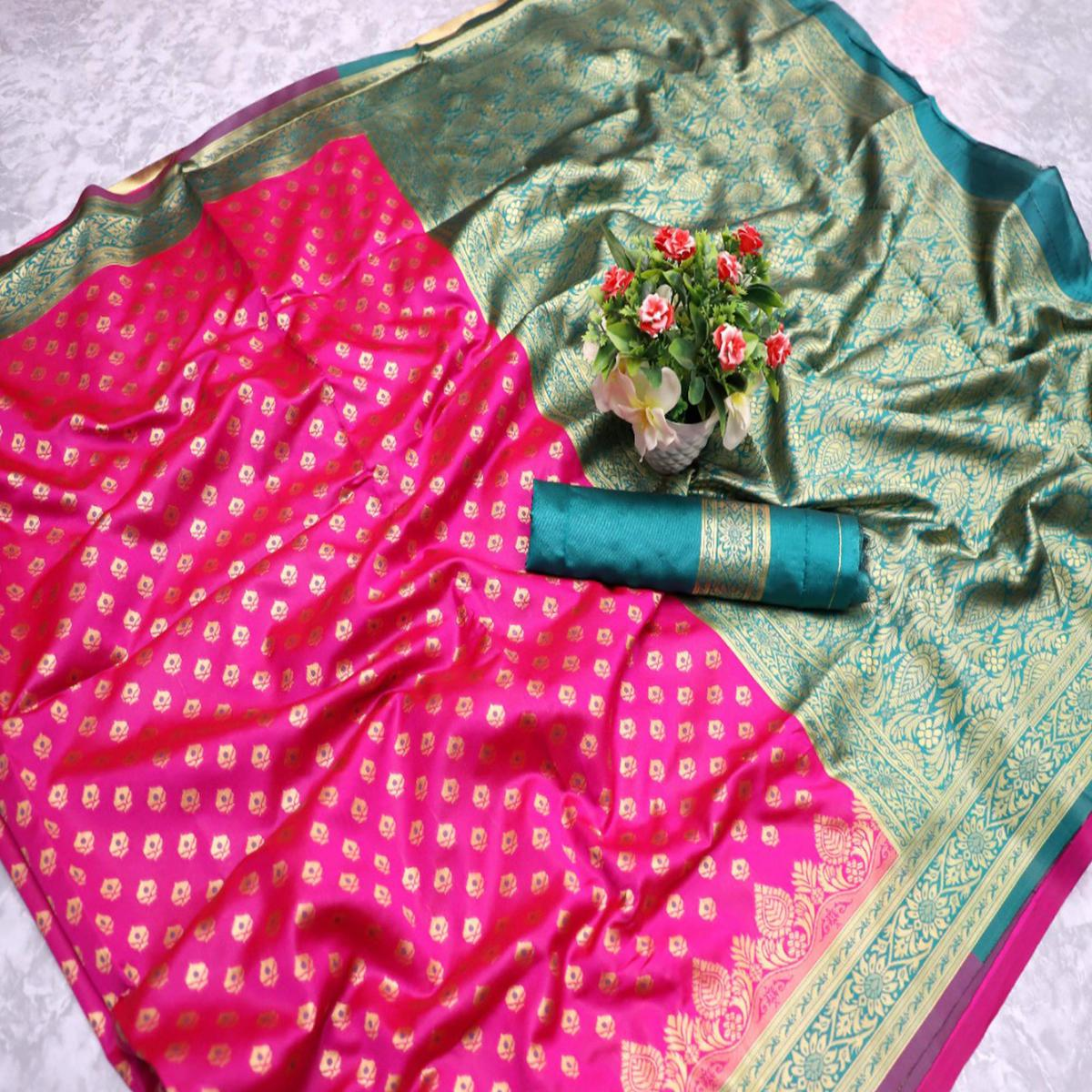 Prominent Pink Colored Festive Wear Woven Banarasi Silk Saree