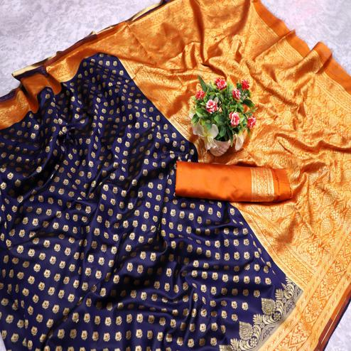 Groovy Navy Blue Colored Festive Wear Woven Banarasi Silk Saree