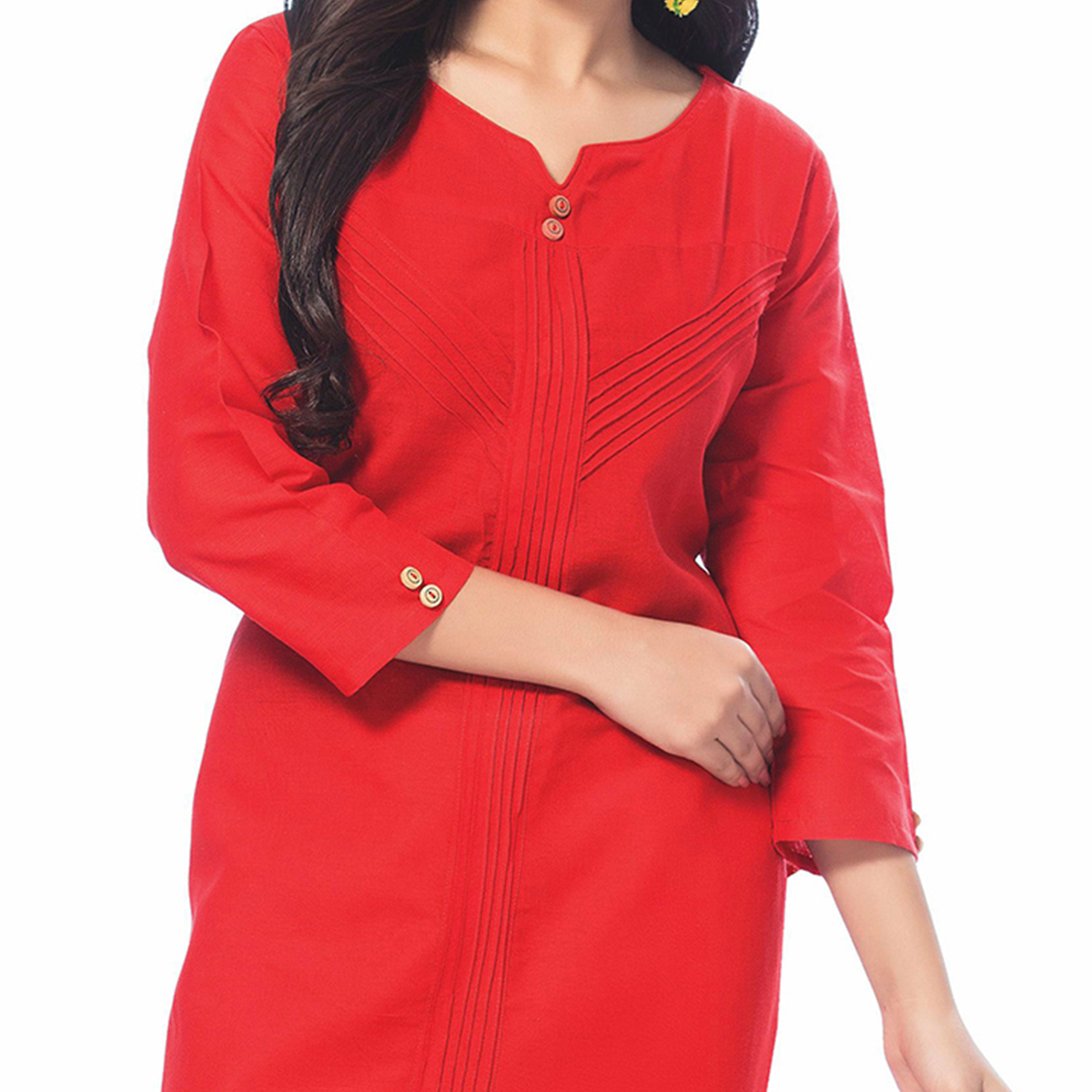 Classy Red Casual Wear Cotton Kurti