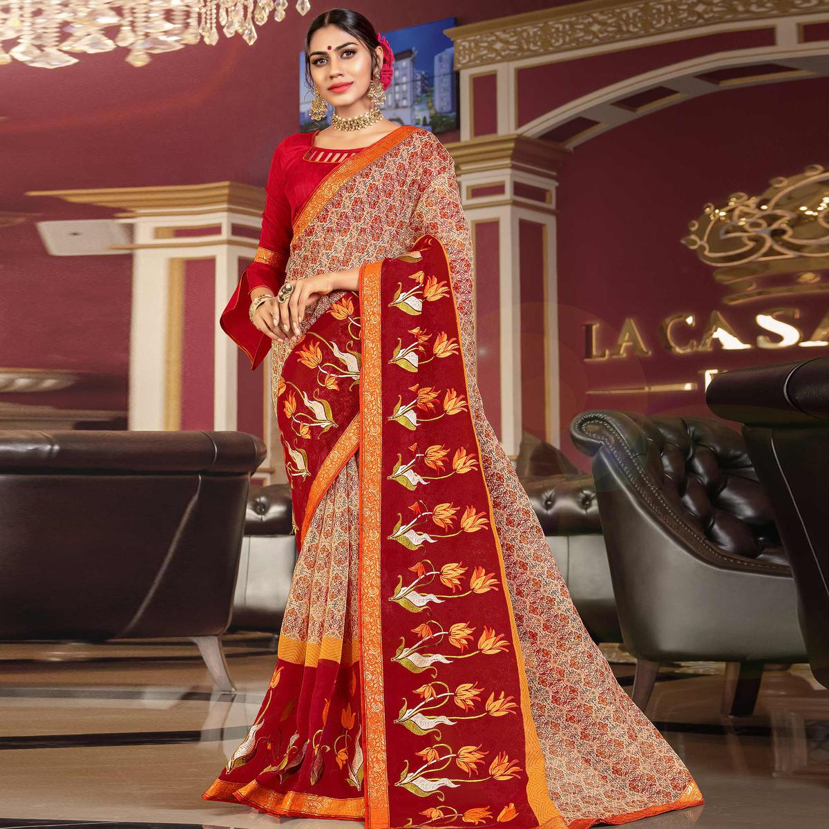 Adorable Beige - Red Colored Partywear Embroidered Kota Silk Saree