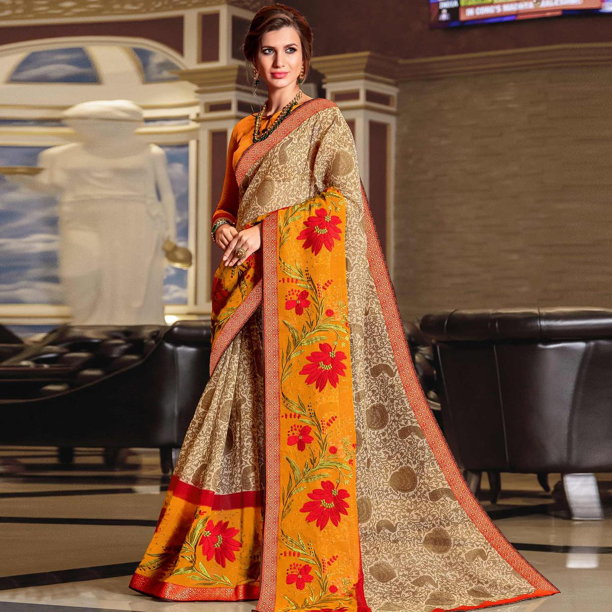 Glorious Beige - Yellow Colored Partywear Embroidered Kota Silk Saree