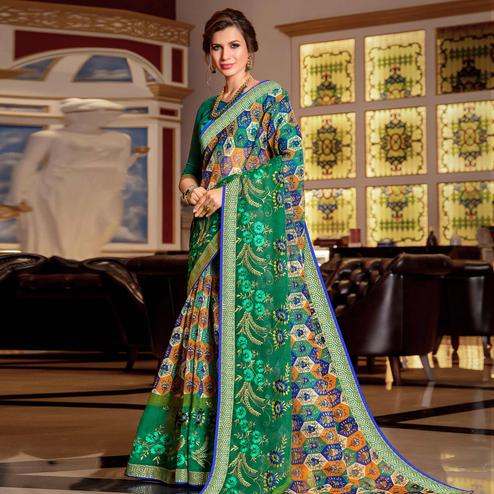 Attractive Green Colored Partywear Embroidered Kota Silk Saree
