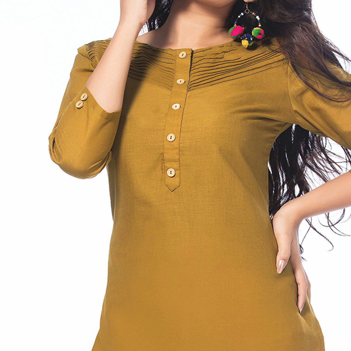 Attractive Mustard Yellow Colored Casual Wear Cotton Kurti