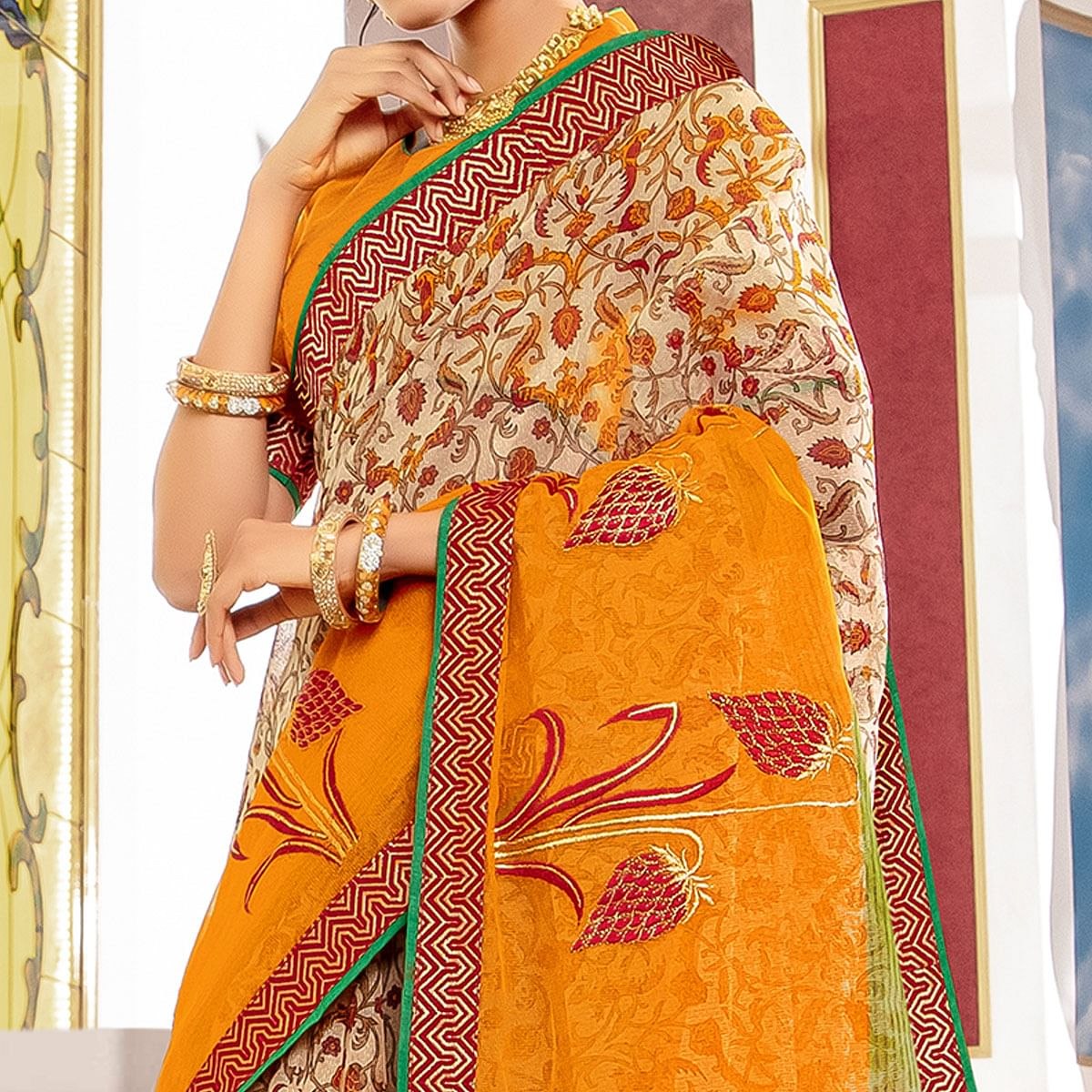 Graceful Yellow Colored Partywear Embroidered Kota Silk Saree