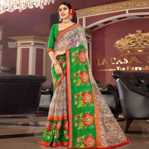 Blooming Offwhite - Green Colored Partywear Embroidered Kota Silk Saree