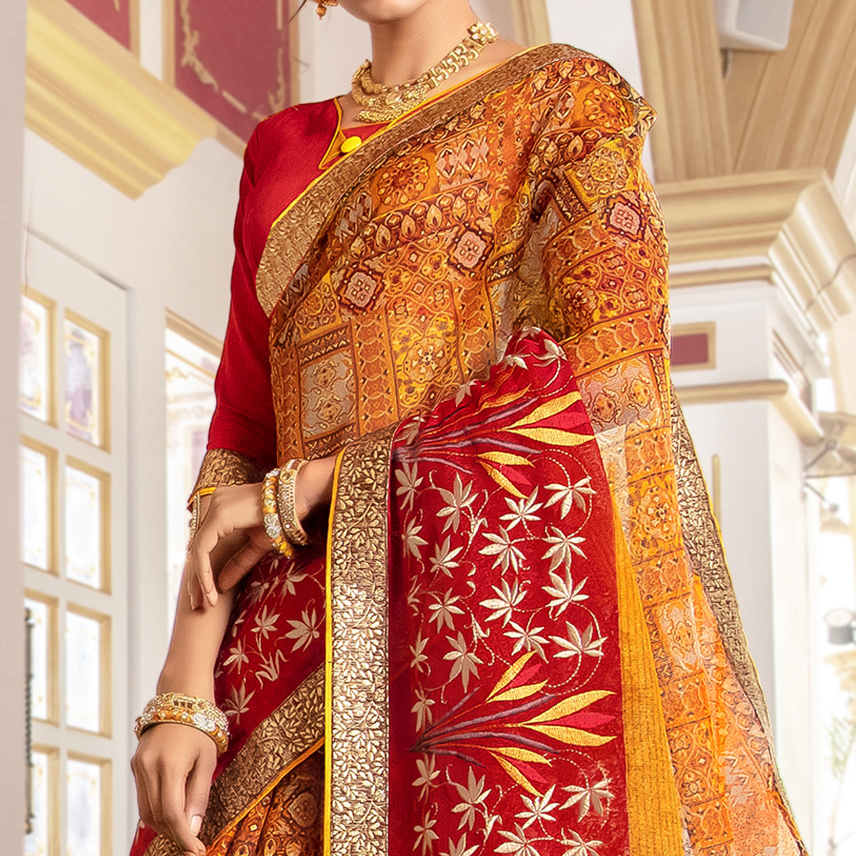 Charming Yellow - Red Colored Partywear Embroidered Kota Silk Saree