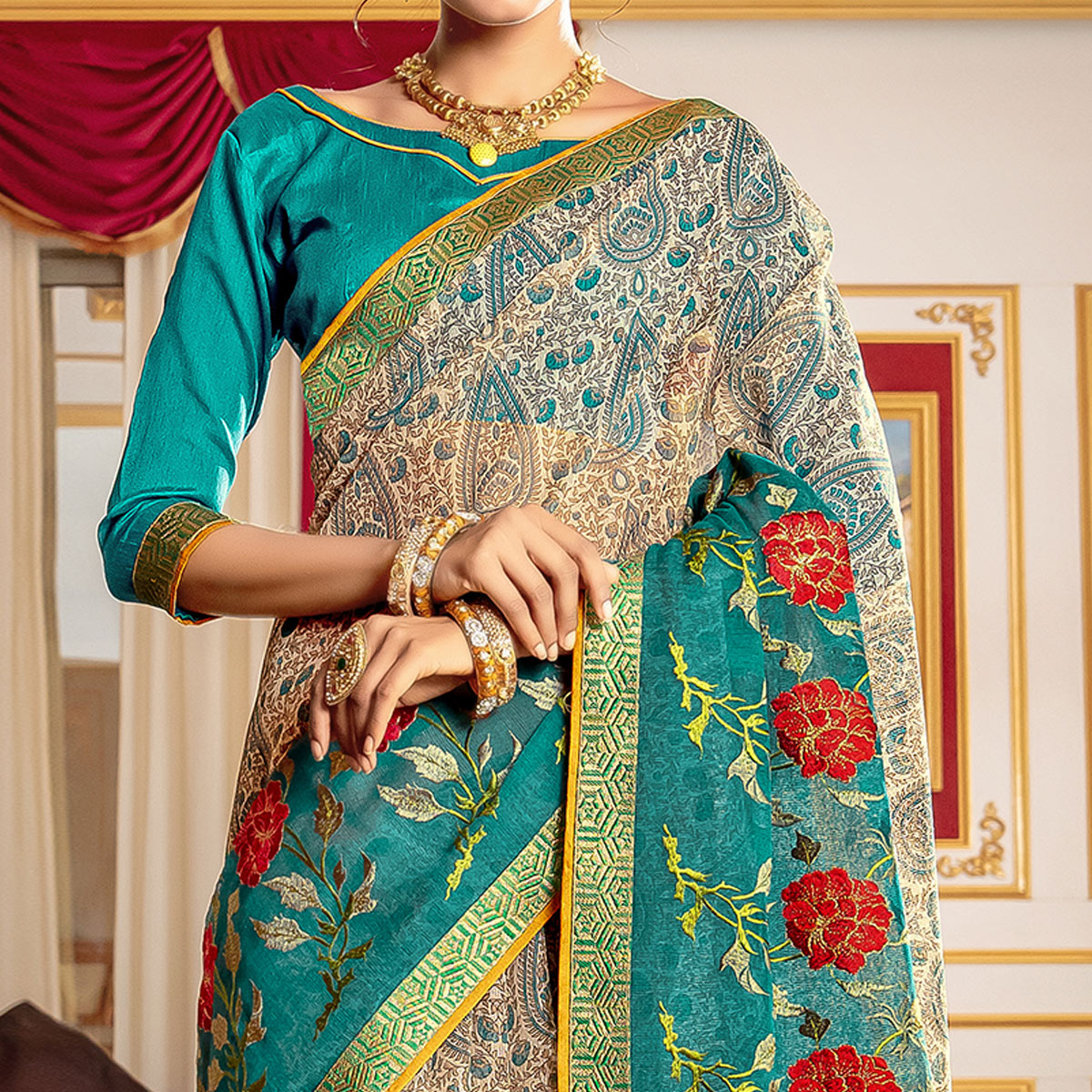 Jazzy Beige - Blue Colored Partywear Embroidered Kota Silk Saree