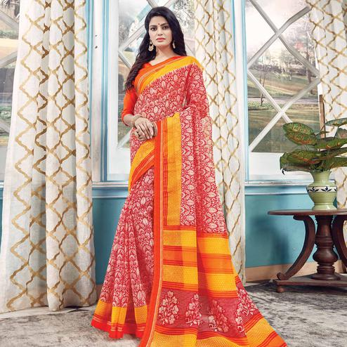Innovative Red Colored Partywear Printed Kota Silk Saree