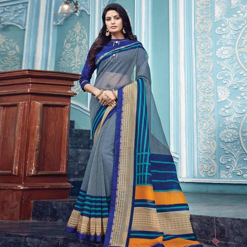 Fantastic Navy Blue Colored Partywear Printed Kota Silk Saree