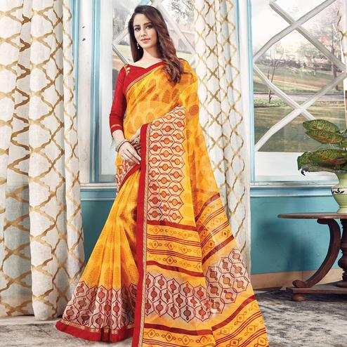 Gorgeous Yellow Colored Partywear Printed Kota Silk Saree