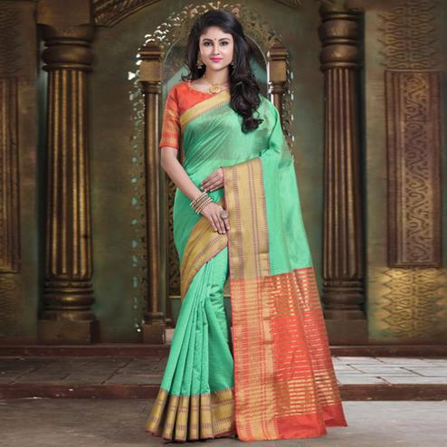 Blissful Pista Green Colored Festive Wear Woven Cotton Handloom Saree