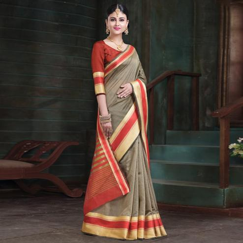 Ideal Beige Colored Festive Wear Woven Cotton Handloom Saree