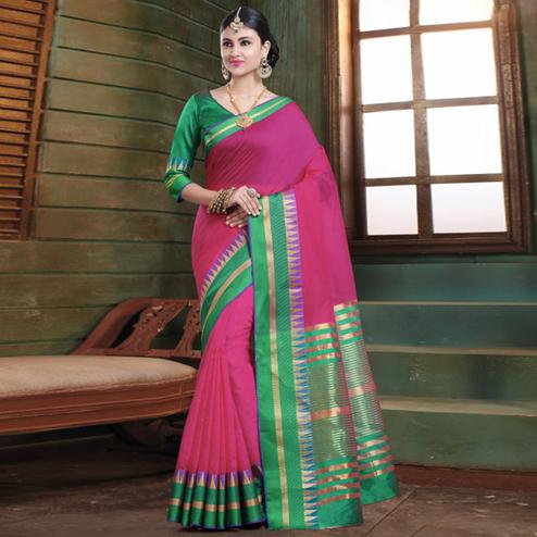 Imposing Dark Pink Colored Festive Wear Woven Cotton Handloom Saree
