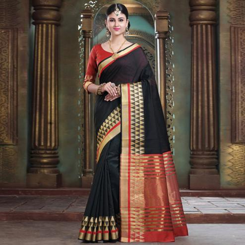 Majesty Black Colored Festive Wear Woven Cotton Handloom Saree