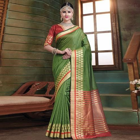 Impressive Green Colored Festive Wear Woven Cotton Handloom Saree