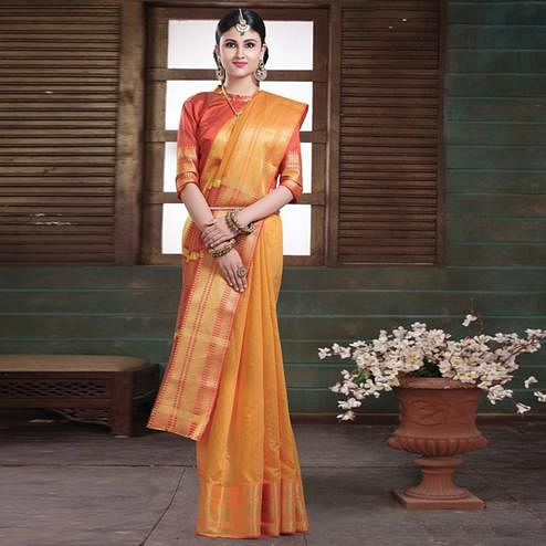 Mesmerising Mustard Yellow Colored Festive Wear Woven Cotton Handloom Saree