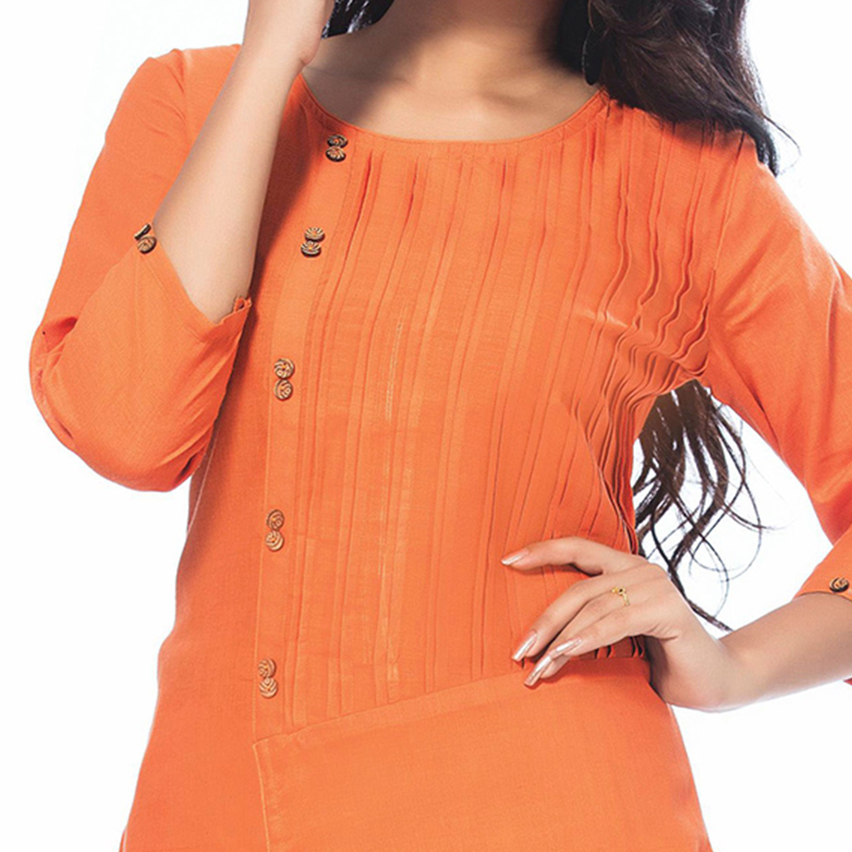 Blooming Orange Casual Wear Cotton Kurti