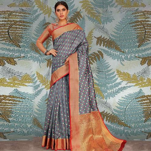 Breathtaking Grey Colored Festive Wear Woven Handloom Silk Saree