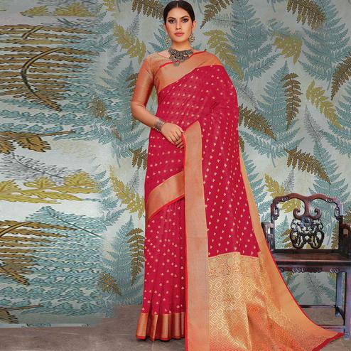 Ethnic Pink Colored Festive Wear Woven Handloom Silk Saree