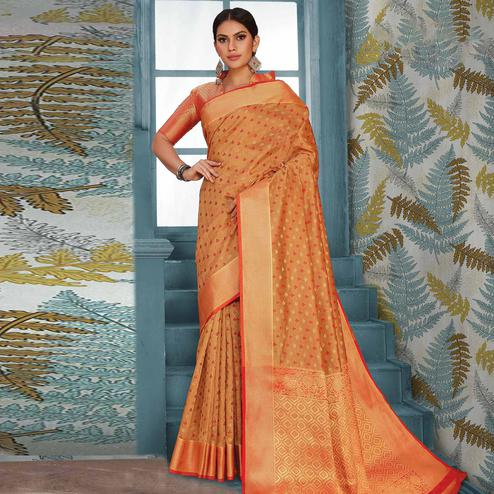 Staring Beige Colored Festive Wear Woven Handloom Silk Saree