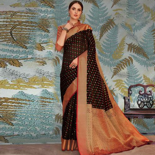 Dazzling Black Colored Festive Wear Woven Handloom Silk Saree