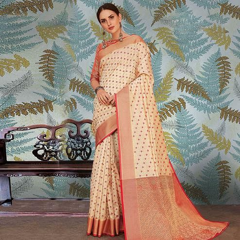 Intricate Offwhite Colored Festive Wear Woven Handloom Silk Saree
