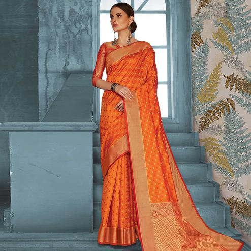Arresting Orange Colored Festive Wear Woven Handloom Silk Saree