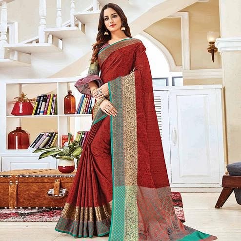 Desirable Maroon Colored Festive Wear Woven Handloom Silk Saree