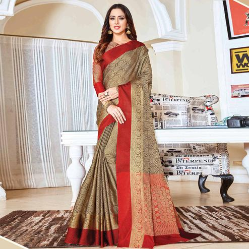 Trendy Beige Colored Festive Wear Woven Handloom Silk Saree
